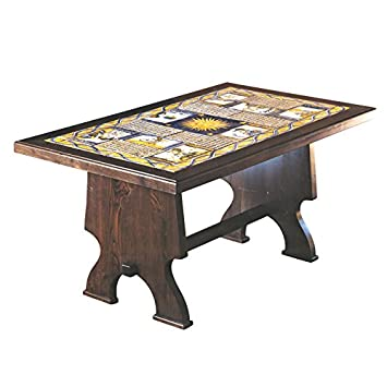 Tavoli Da Giardino Decorati.Tavolo Rettangolare In Legno E Mattonelle In Ceramica Artistica Di