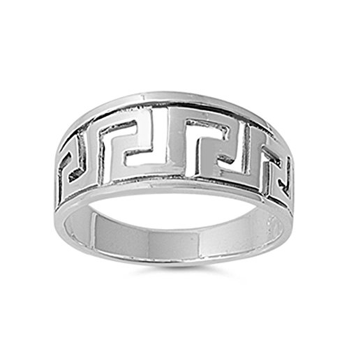 Sterling Silver Aztec Design Ring, 9mm (9)