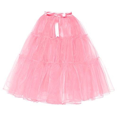 Udresses Girls 1950s Knee Length Petticoat Skirt Tulle Crinoline Underskirt PS7 Pink X-Small ()