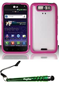 FoxyCase(TM) FREE stylus AND For LG Connect 4G MS840 Viper LS840 (MetroPCS Sprint) PC + TPU Case Cover Protector - Hot Pink PCTPU Desire Safe Phone cas couverture