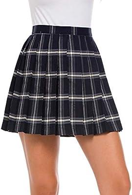 ZYSDHZ Falda A Cuadros Mini Falda Plisada De Cintura Alta Niña ...