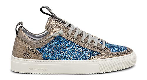 P448 Women's Soho Italian Leather Royal Glitter Sneaker EU 36 / US 6-6.5 - Lace Soho Sneakers