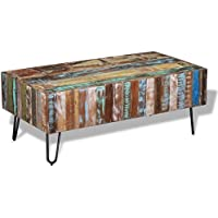 Daonanba Vintage-style Unique Coffee Table Antique Side Table Living Room Table Storage Chest Solid Reclaimed Wood