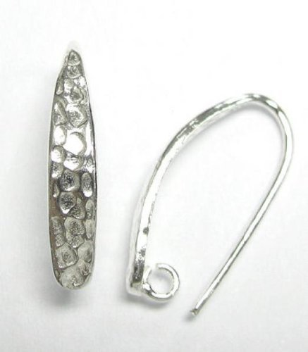 2 pcs.925 Sterling Silver Hammered Earwire Earring Hook W/Ring For ()