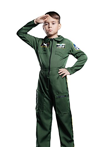 [Kids Unisex Air Force Pilot Halloween Costume Top Gun Ace Dress Up & Role Play (8-11 years, olive] (Pilot Costumes Kids)