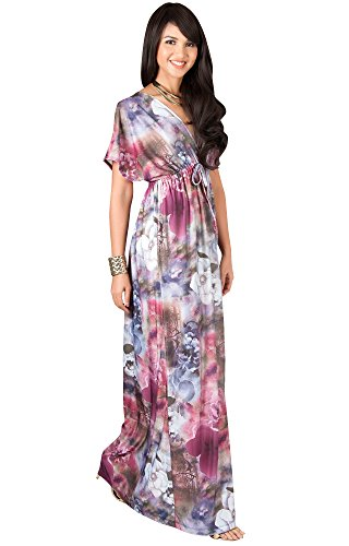 KOH KOH Plus Size Womens Long Kimono Short Sleeve V-neck Floral Print Summer Flowy Cute Casual Evening Sundress Gown Gowns Maxi Dress Dresses, Crimson Red, 2X Large XXL 18-20