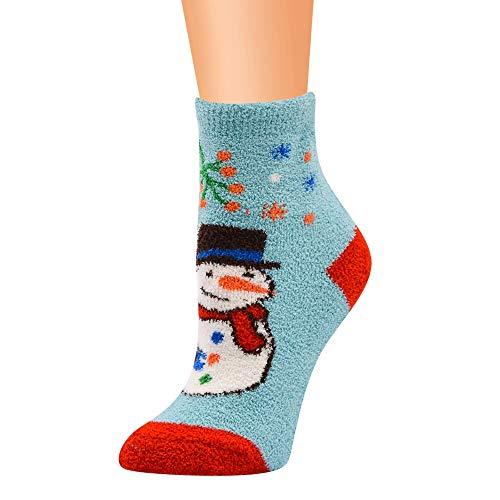 Christmas Fuzzy Socks, Seaintheson Cute XMAS Holiday Crew Knee Cozy Socks Fancy Fluffy Warm Colorful Slipper Socks for ()