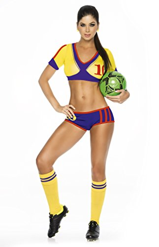 Espiral Lingerie Women's Colombia Soccer Player Costume, Blue/Yellow/Red,