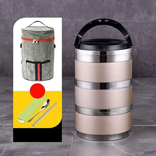 保温 弁当箱 スプーン、収納袋が付いている子供のための魔法瓶のステンレス製の食糧フラスコ (Color : Gold, Size : G)