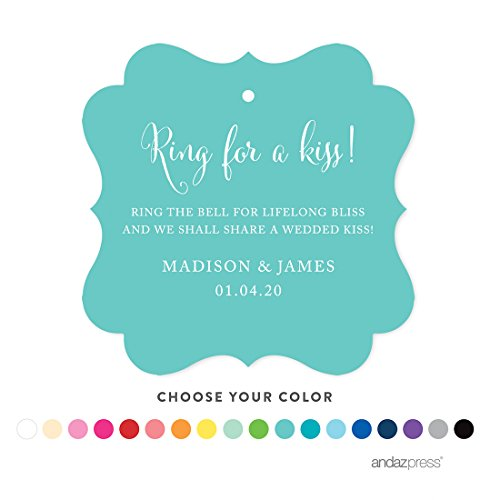 Andaz Press Personalized Wedding Bells Favor Gift Tags, Fancy Square, 24-Pack - Custom Made Any Name by Andaz Press