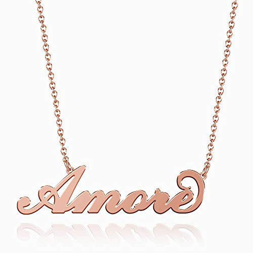 SOUFEEL Amore Name Necklaces Pendant Stainless Steel Rose Gold Personalized Nameplate for Women Girls Gifts