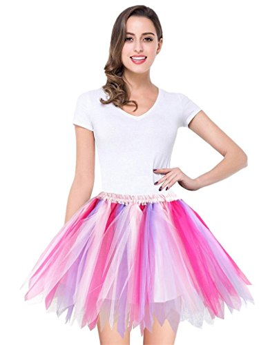 Pink Tutu And Purple (V28 Women's Teen's 1950s Vintage Tutu Tulle Petticoat Ballet Bubble Skirt (Regular Size (US: 0-12),)