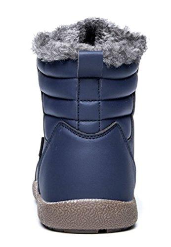 Eagsouni Heren Dames Antislip Snowboots Met Volledig Bont Gevoerde Enkellaarsjes Hoge Top Outdoor Winterschoenen Blauw