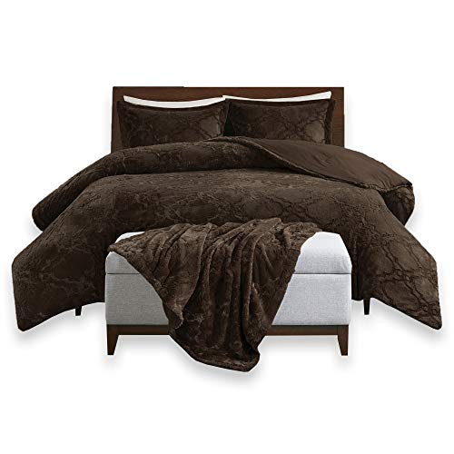 Comfort Spaces - Odessa Comforter Set + Long Fur Throw Combo - 4 Piece - Chocolate - Snugly Warm and Ultra Soft - King Size, Includes 1 Comforter, 2 Shams by Comfort Spaces