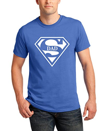 Falcon's Shop T-Shirts for Men Super DAD Superman Designed Men's Funny Tees Round Neck Shirts(Blue,Large)