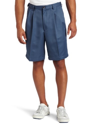 Haggar Men's Big-Tall Cool 18 Gabardine Hidden Expandable Waist Pleat Front Short,Cadet Blue,46 by Haggar