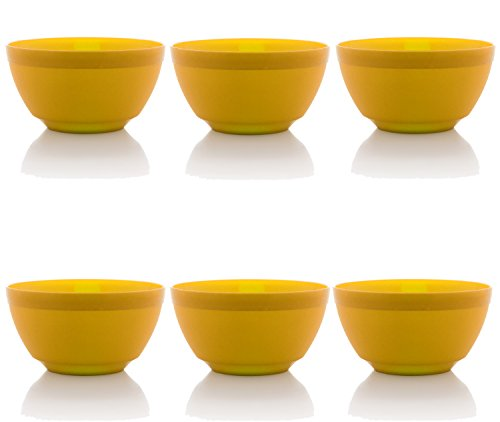 Ou Premium Design- Unbreakable Luna Bowls, Set of 6 (17 oz, Yellow) -