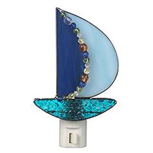 Ganz By The Shore Imaginative Bead And Glass Light and Dark Blue Sailboat Night Light
