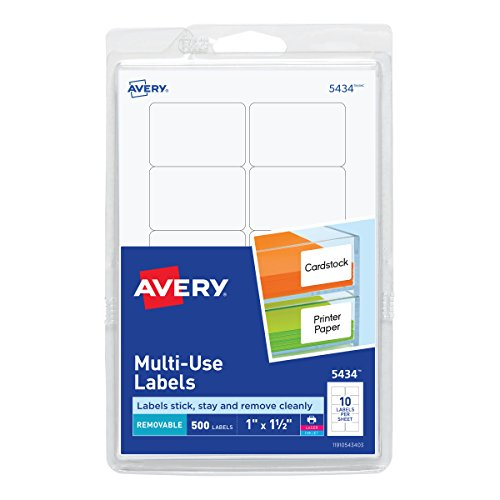Avery Self-Adhesive Removable Labels, 1 x 1.5 Inches, White, 500 per Pack (05434)