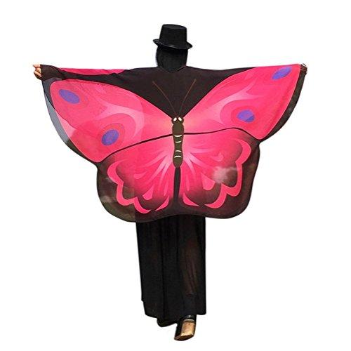 VESNIBA Women Butterfly Wings Shawl Loose Kimono Cardigan Top Shirt Blouse (Hot Pink) ()