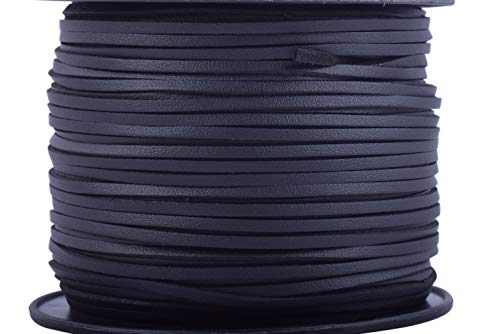 KONMAY 100 Yards 2.65mm Black Micro Fiber Lace Faux Suede Leather Cord on Rolls for Jewelry Making