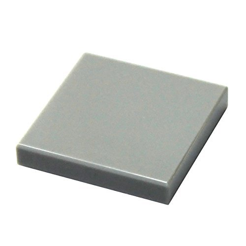 Bear Tile (LEGO Parts and Pieces: Light Gray (Medium Stone Grey) 2x2 Tile x50)
