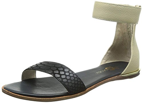 Yosi Samra Women's Cambelle 3D Croco Leather Sandal Black/Biscotti 9 M US