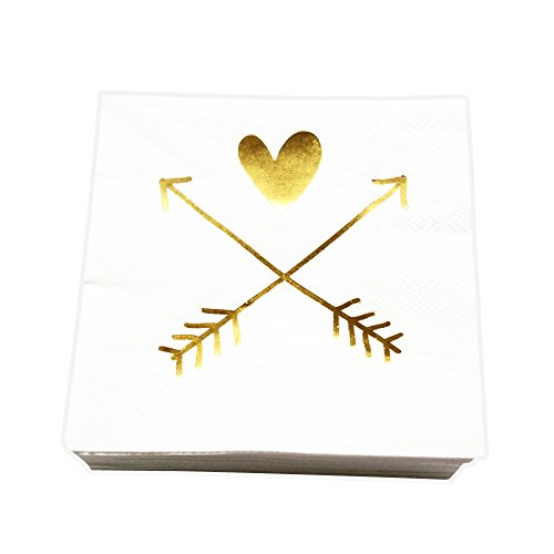White and Gold Cocktail Napkins for Wedding, Engagement and Bridal Shower, 80 Count by (Love Beverage Napkins)