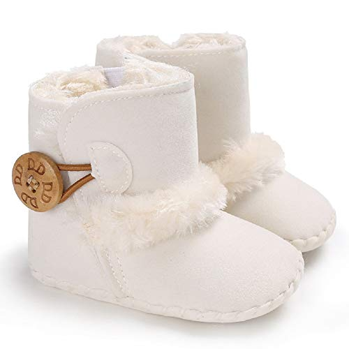 (Fnnetiana Baby Winter Buttons Snow Boots Warm Shoes Anti-Skid Plush Ankle Booties Newborn Infant Crib Boots(6-12 Months, White))