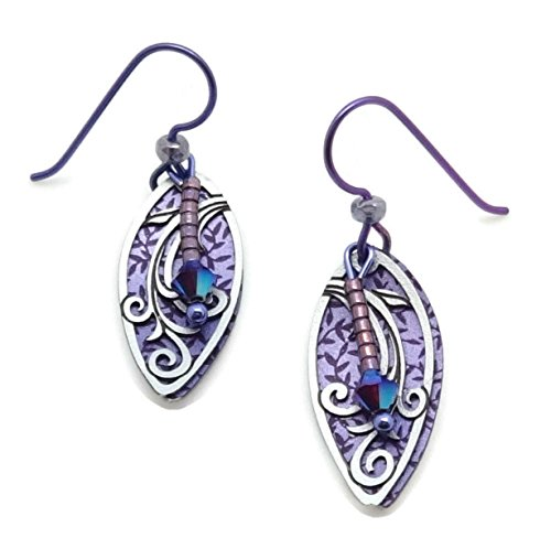 ADAJIO by Sienna Sky Purple Metallic Oval Leaves & Bead Drop Hook Earrings 7846