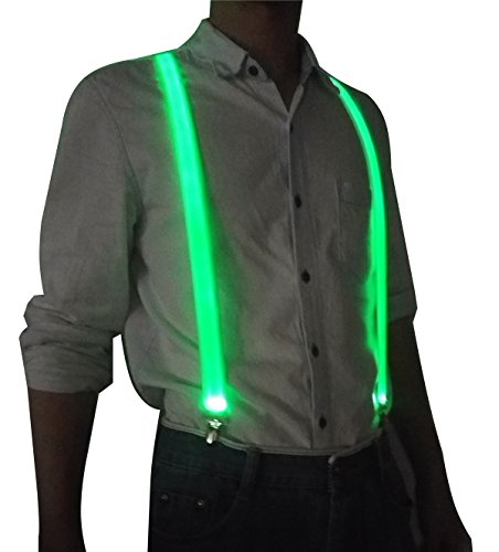LED Glowing Suspenders Men Suit Costume Light-Up Party Outfit for 90 Rave Nightlife Halloween Stick Clothes Accessories(Green)