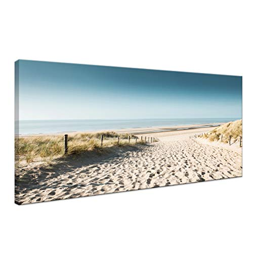 Wall Decor for Living Room Canvas Print Picture Painting for Living Footprints Beach Canvas Wall Art Seascape Outdoor Nature Sea Sandbeach Landscape Home Bedroom Decoration Modern Framed Artwork Beach Outdoor Canvas Painting