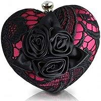 Bolsa Clutch Festa de Mão Rosa com Rendas Preta