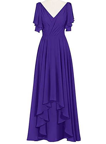 6f6a26dbac MenaliaDress Hi-Lo Chiffon V Neck Mother Of Bride Dress Evening Gown M088LF  Purple US20W