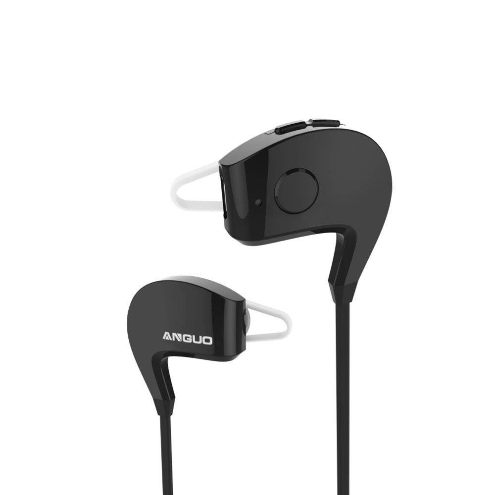 Anguo Bluetooth Headphones, Cellphone Sport Headset Headphones Sweatproof Running Exercise Stereo Earbuds Earphones Headsets-Compatible with iPhone,iPad, Android and More (Black)