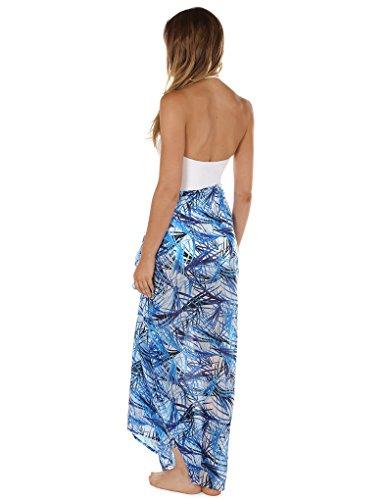 Seaspray 11-3006 Women's Fiji Blue and White Leaf Print Pareo