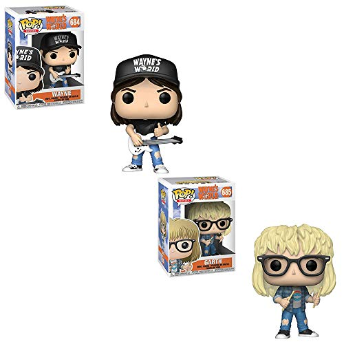 (Funko POP! Movies Wayne's World: Wayne Campbell with Guitar and Garth Algar with Drum Sticks Toy Action Figures - 2 POP Bundle)