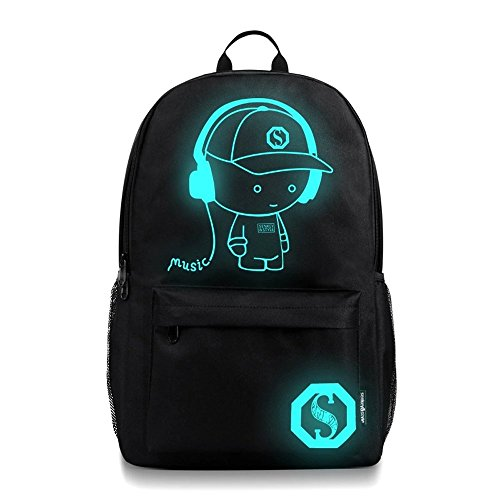 Unisex Music Boy Noctilucent Cartoon School Bags Student Backpack (L, Black) by Napoo-Bag