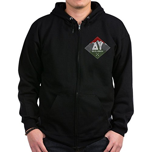 CafePress - Delta Upsilon Mountains Diamonds Sweatshirt - Zip Hoodie, Classic Hooded Sweatshirt with Metal Zipper Black