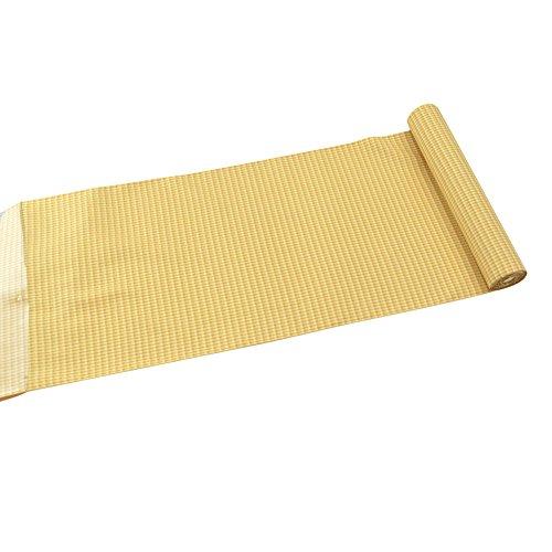 反物 織の着物 正絹手綾織紬 草木染め 黄土 格子 伝統的工芸品 置賜 白たか織 日本製 袷せor単衣用 レディース