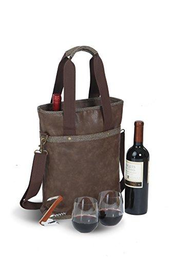 Omega Double Bottle Bag Espresso - Vegan Leather Double Bottle Wine Bag With Stemless Wine Goblets.