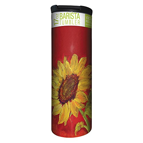 Tree-Free Greetings Sunflower Prima Donna Vacuum Insulated Travel Coffee Tumbler, 17 Ounce Stainless Steel Mug, Floral Nature Lover Gift (BT20584)