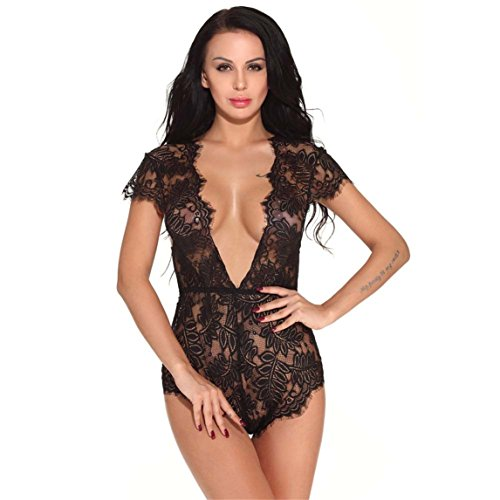 Nadition Sexy Lingerie Clearance ♥ Women Lace Teddy features Plunging Eyelash and Snaps Crotch (Black, - To Eye Measurements How Get