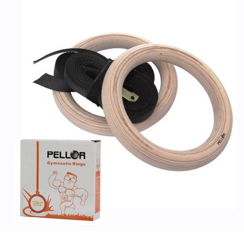 Pellor - Gym Ringe Gymnastikringe Gym Holz mit Buckles Straps