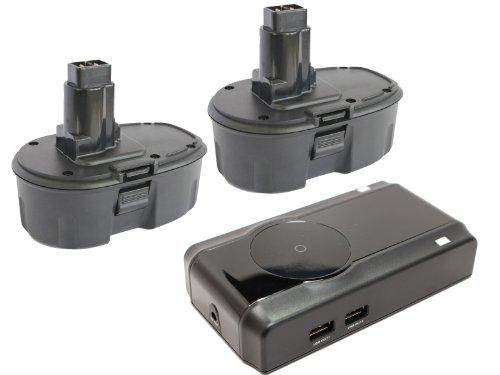 2-Pack DeWalt 18V Battery + Charger Replacement - Compatible with DeWalt DC759, DC9096, DW059, DC385, DC390, DC720KA, DW938, DCD940KX, DC925, DC988, DC618, DC608K, DW056, DCD950KX, DC759KA, DC330, DW960, DC385K, DC515K, DW059K-2 (3300mAh, NIMH)