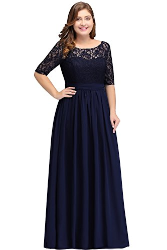 dc75ec87f79e Women Plus Size Long Sleeve Mother of The Bride Dress Navy Blue 18W