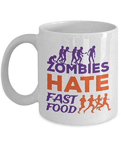 Zombies Hate Fast Food Coffee Mug Funny Halloween Gift Idea For Women Men White 11oz Ceramic]()