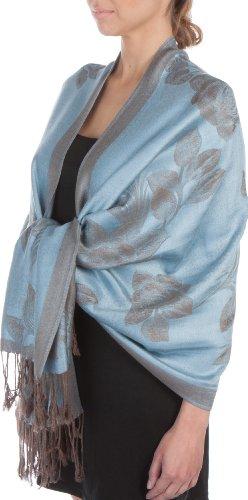 Sakkas Two Tone Rose Pashmina Scarf/Stole/Wrap - Steel Blue/Gray
