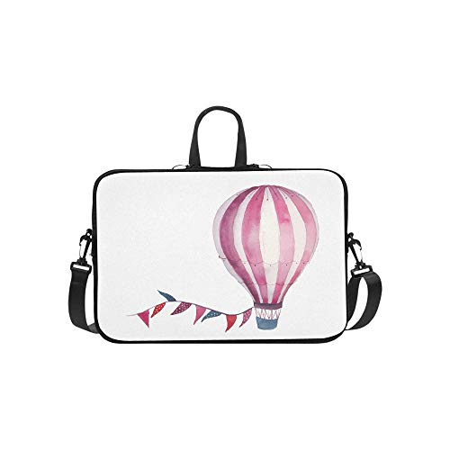 (Watercolor Happy Birthday Baby Card with Air Ballo Pattern Briefcase Laptop Bag Messenger Shoulder Work Bag Crossbody Handbag for Business Travelling)