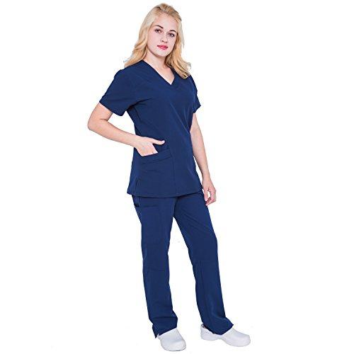 New Women Nursing Scrub (Women V Neck Stretch Scrubs Set - Pandamed Women Medical Uniforms Scrubs 2017 New TRS3104 (Navy, L))